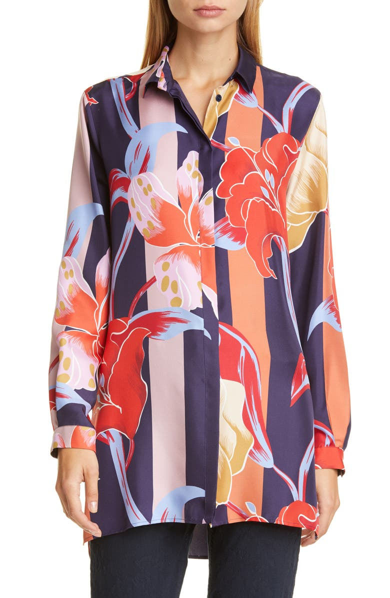 ETRO Large Lily Print Silk Tunic Shirt, Main, color, 410