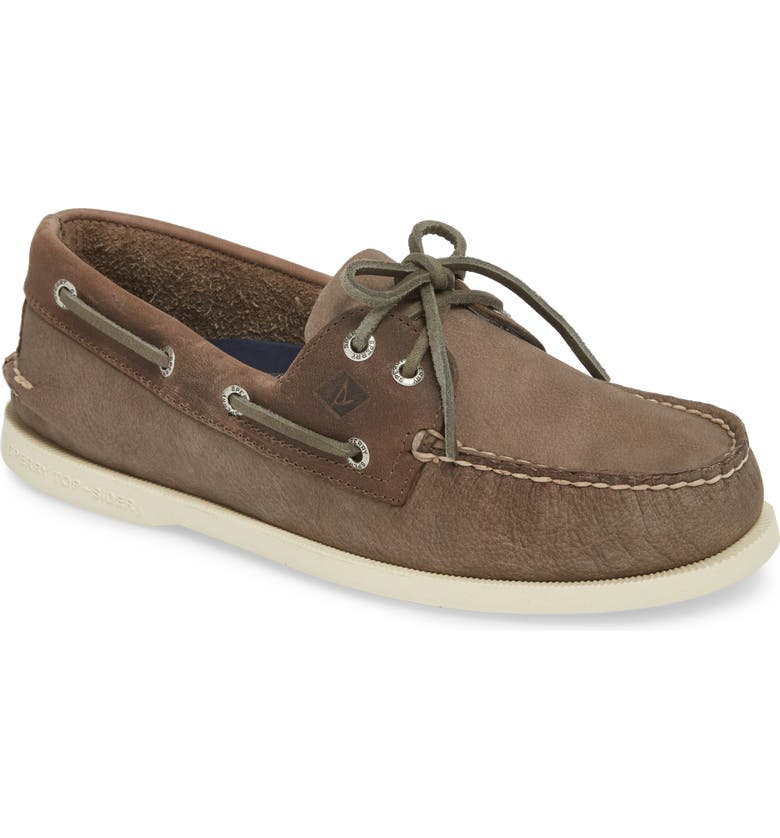SPERRY Authentic Original Two-Eye Boat Shoe, Main, color, GREY/ CHARCOAL LEATHER