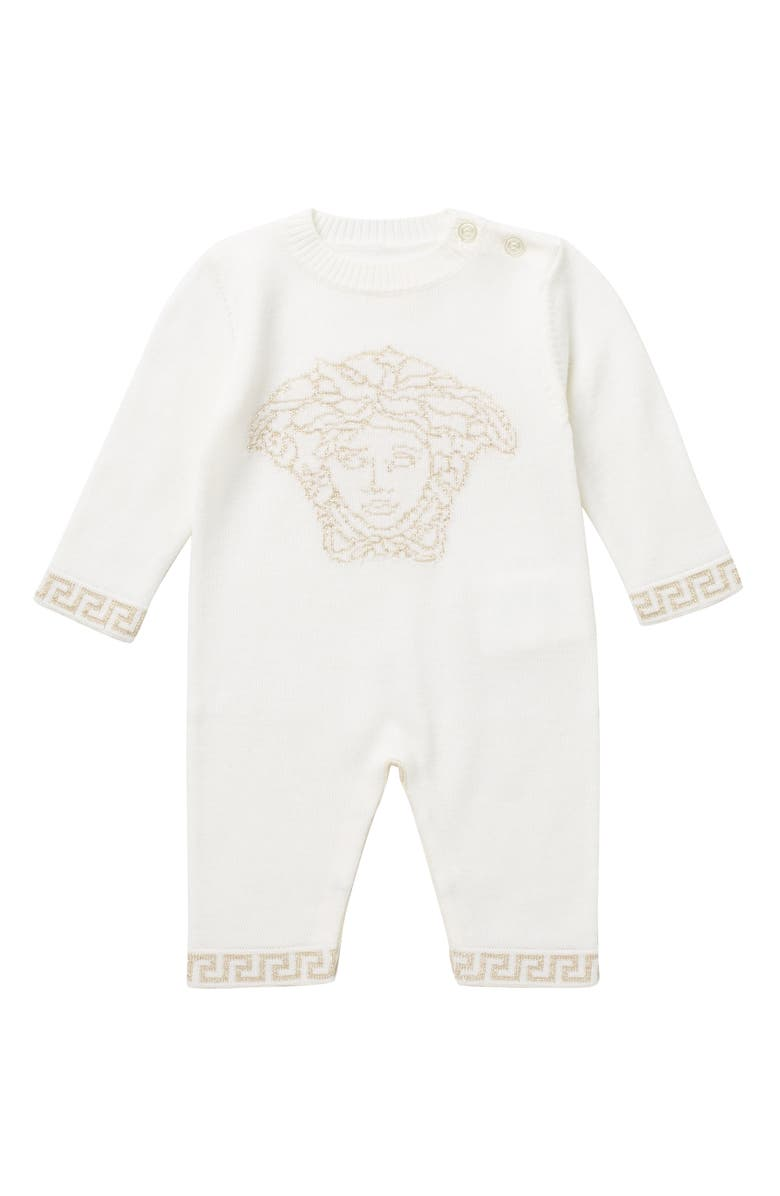 VERSACE Wool Graphic Romper, Main, color, WHITE-GOLD