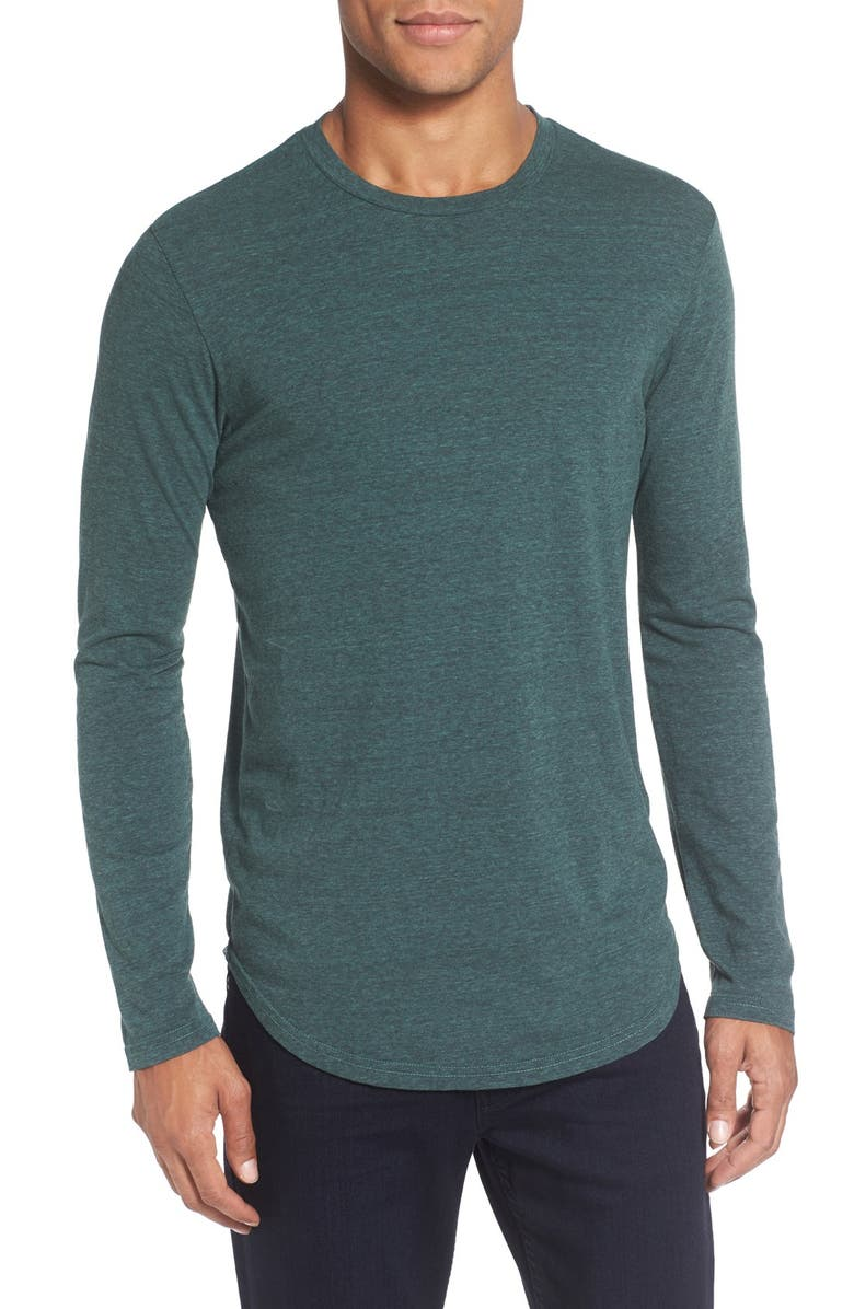 GOODLIFE Triblend Scallop Long Sleeve T-Shirt, Main, color, SILVER PINE