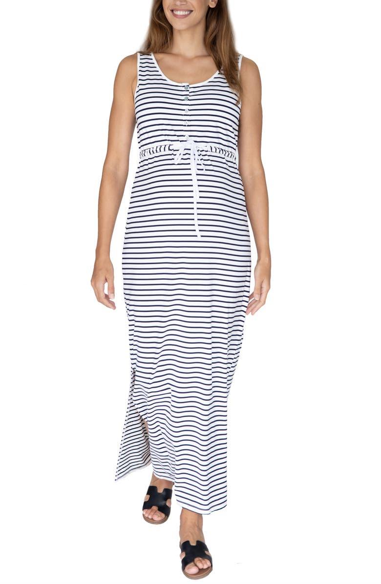 ANGEL MATERNITY Stripe Drawstring Maternity/Nursing Maxi Dress, Main, color, 100