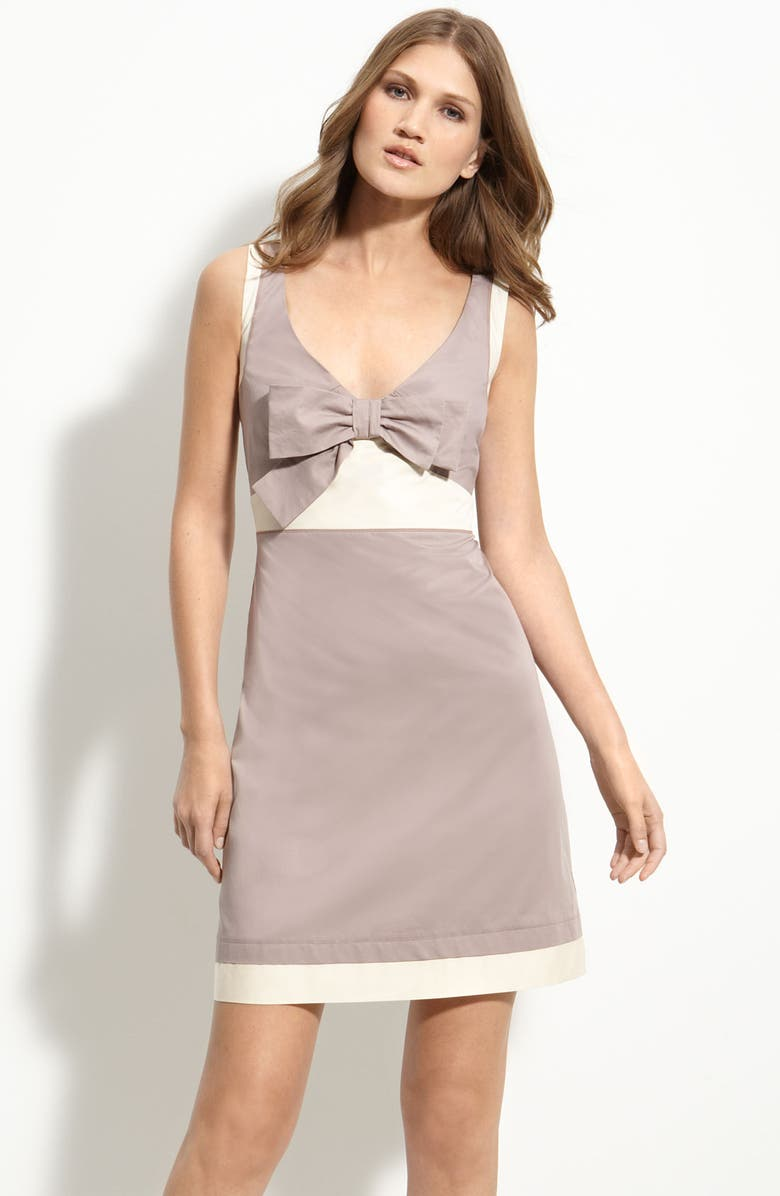 SEE BY CHLOÉ Bow Front Two Tone Sateen Dress, Main, color, DUSTY/ PEARL