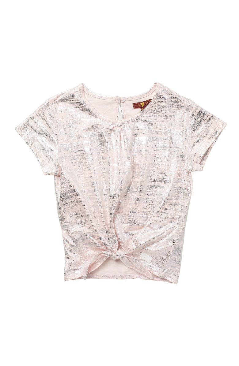 7 FOR ALL MANKIND Tie Front Tee, Main, color, PEARL STRIPE
