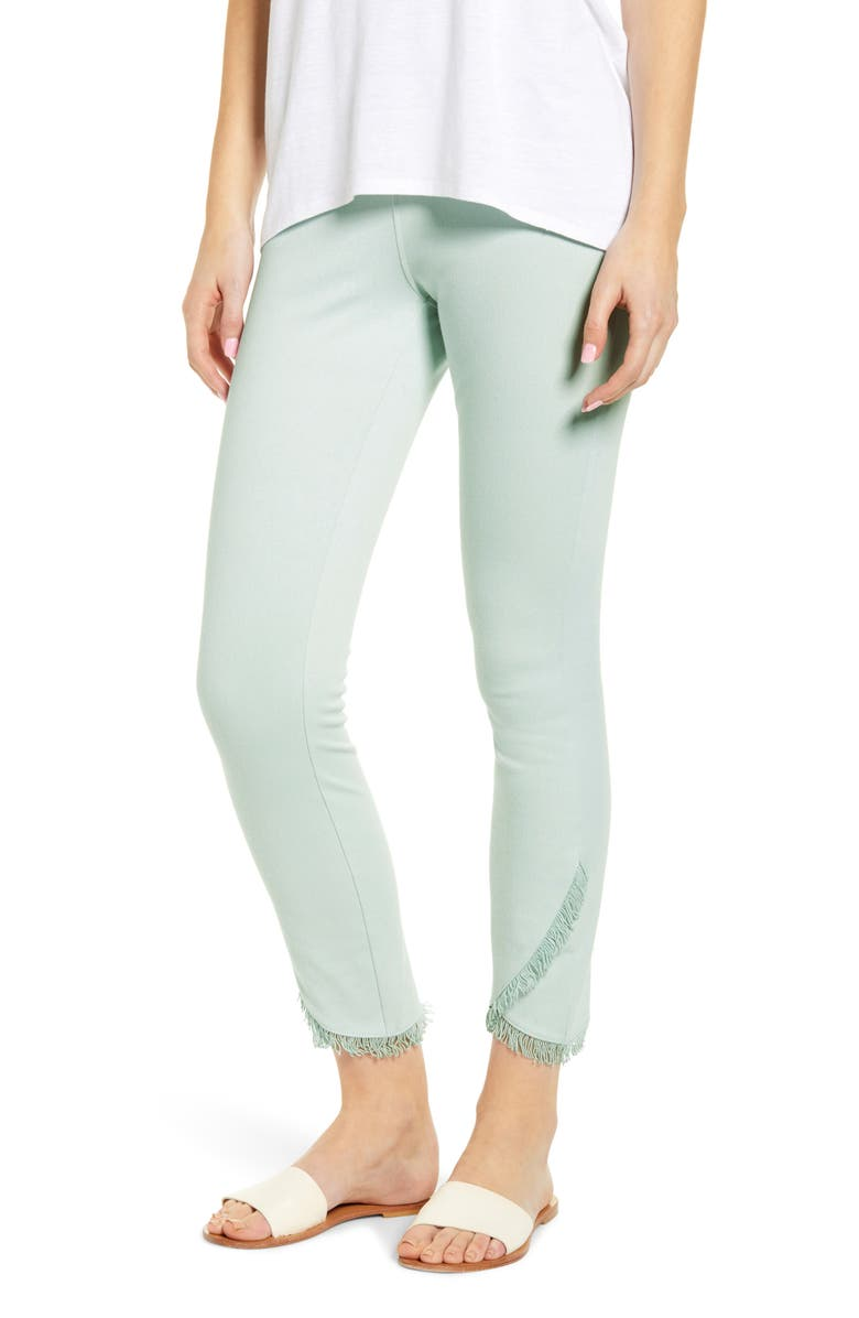 LYSSÉ Fringe Tulip Hem Denim Leggings, Main, color, AQUA