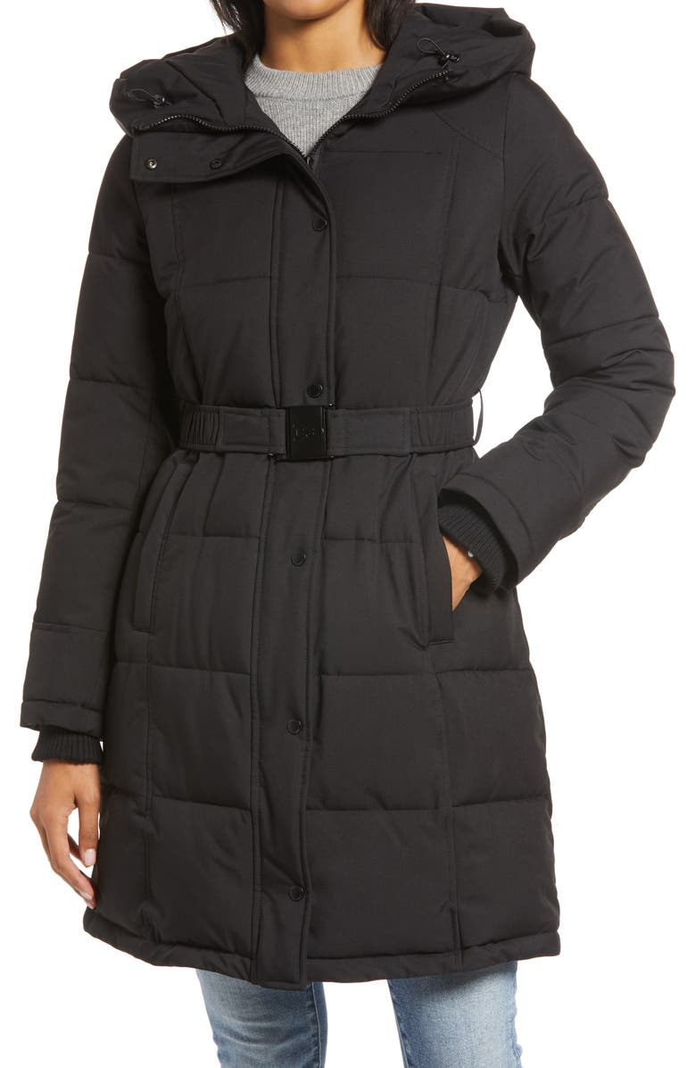 SAM EDELMAN Pillow Collar Belted Puffer Coat, Main, color, BLACK