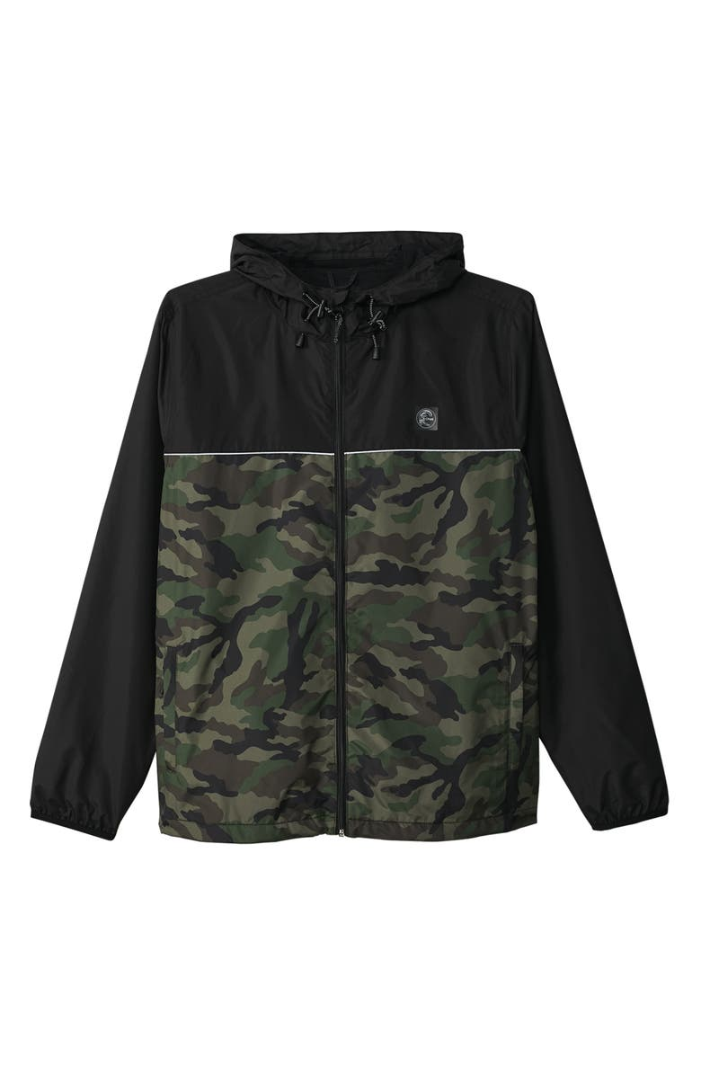 O'NEILL Nomadic Packable Water Resistant Windbreaker, Main, color, CAMO