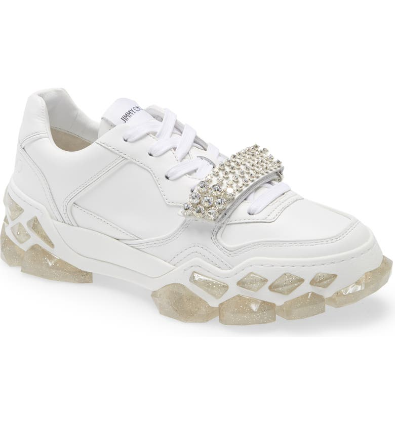 JIMMY CHOO Crystal Embellished Low Top Sneaker, Main, color, WHITE/ CRYSTAL