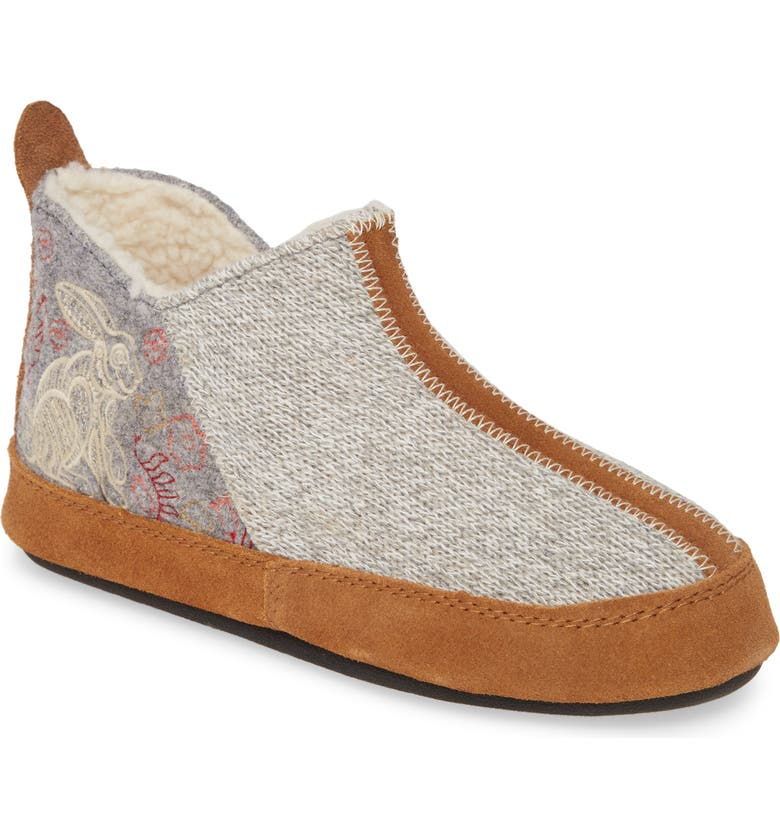 ACORN 'Forest' Bootie Slipper, Main, color, HEATHER GREY WOOL
