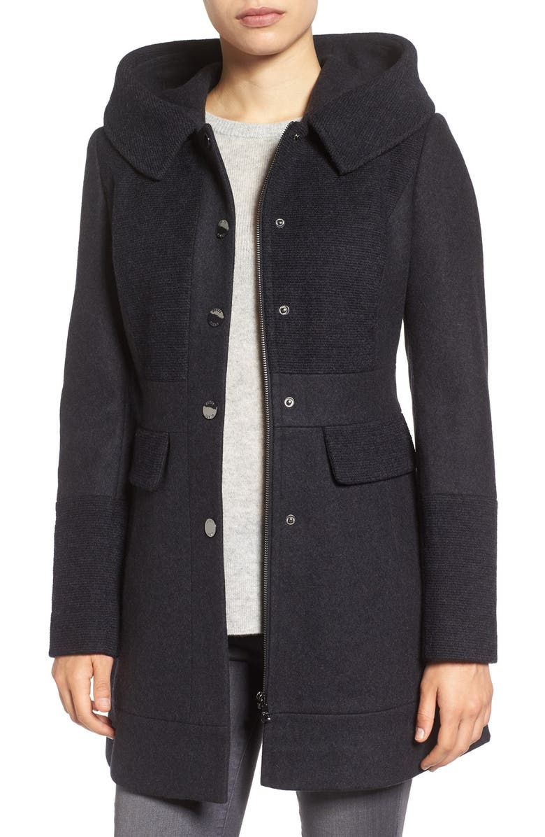 GUESS Wool Blend Hooded Coat, Main, color, 028