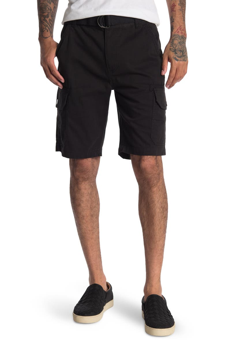 BEACH BROS Belted Utility Cargo Shorts, Main, color, BLACK