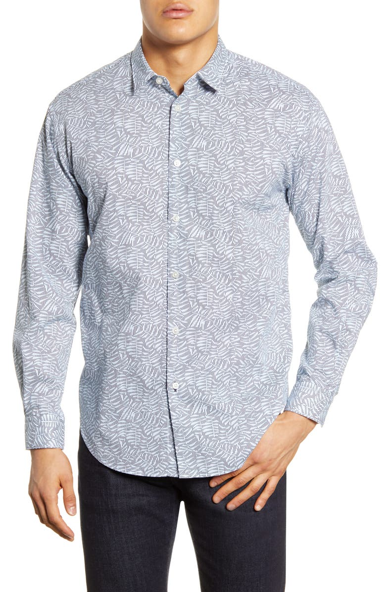 BOSS Noah Relaxed Fit Leaf Print Button-Up Shirt, Main, color, 407