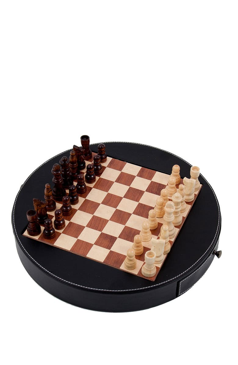 BEY BERK Leather Chess Set, Main, color, SILVER