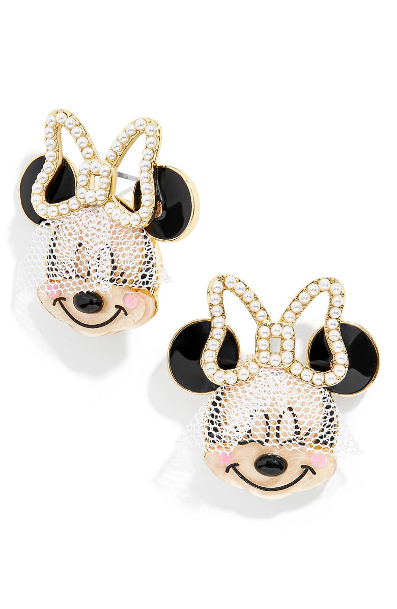 BAUBLEBAR Disney<sup>®</sup> Bride Minnie Mouse Statement Stud Earrings, Main, color, White