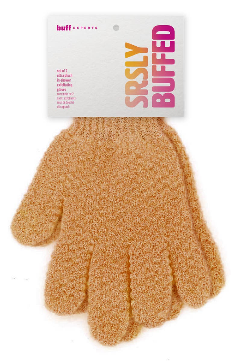 BUFF EXPERTS Srsly Buffed Dry Brush In-Shower Exfoliating Gloves, Main, color, BROWN
