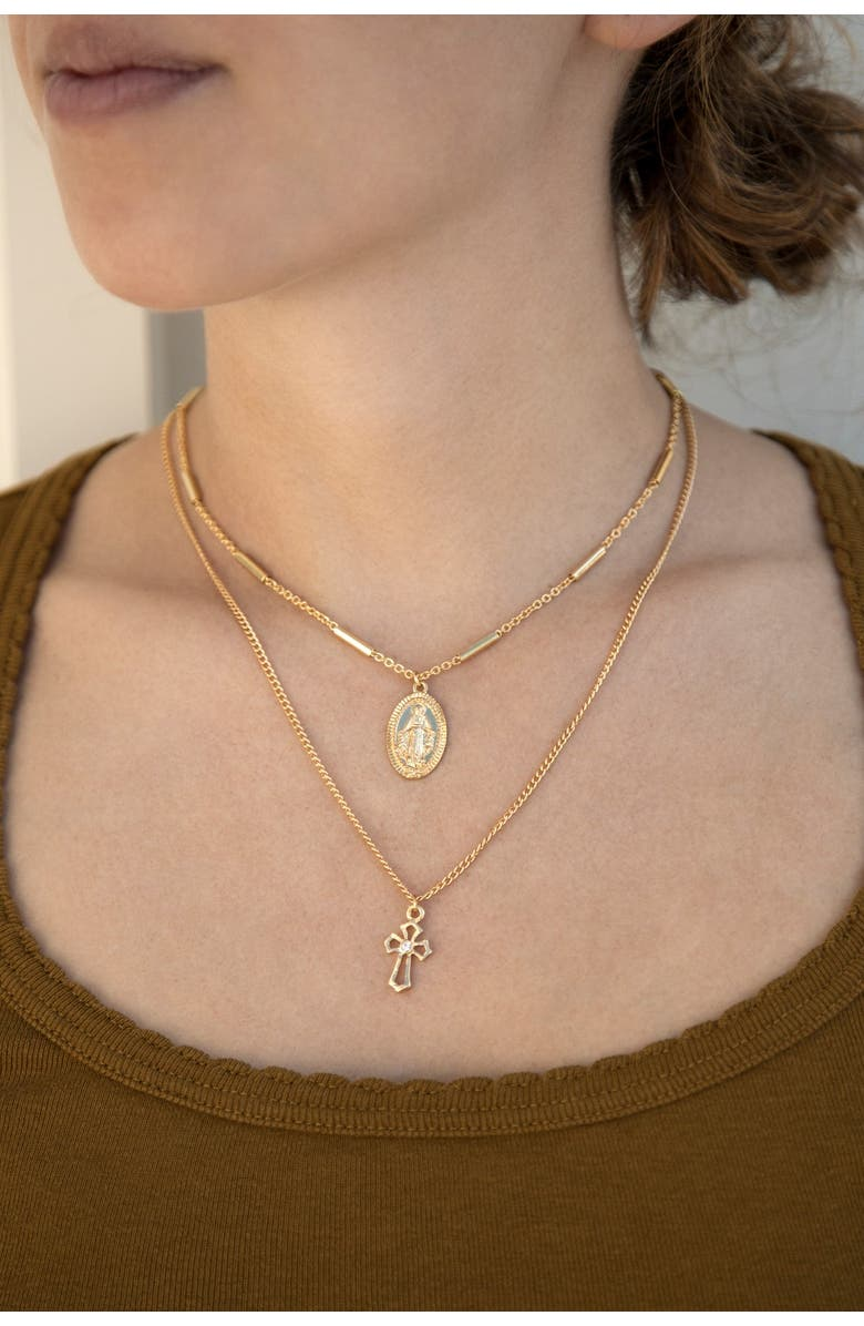 ETTIKA 18K Gold Plated Mary & Cross Chain Necklace Set, Main, color, GOLD