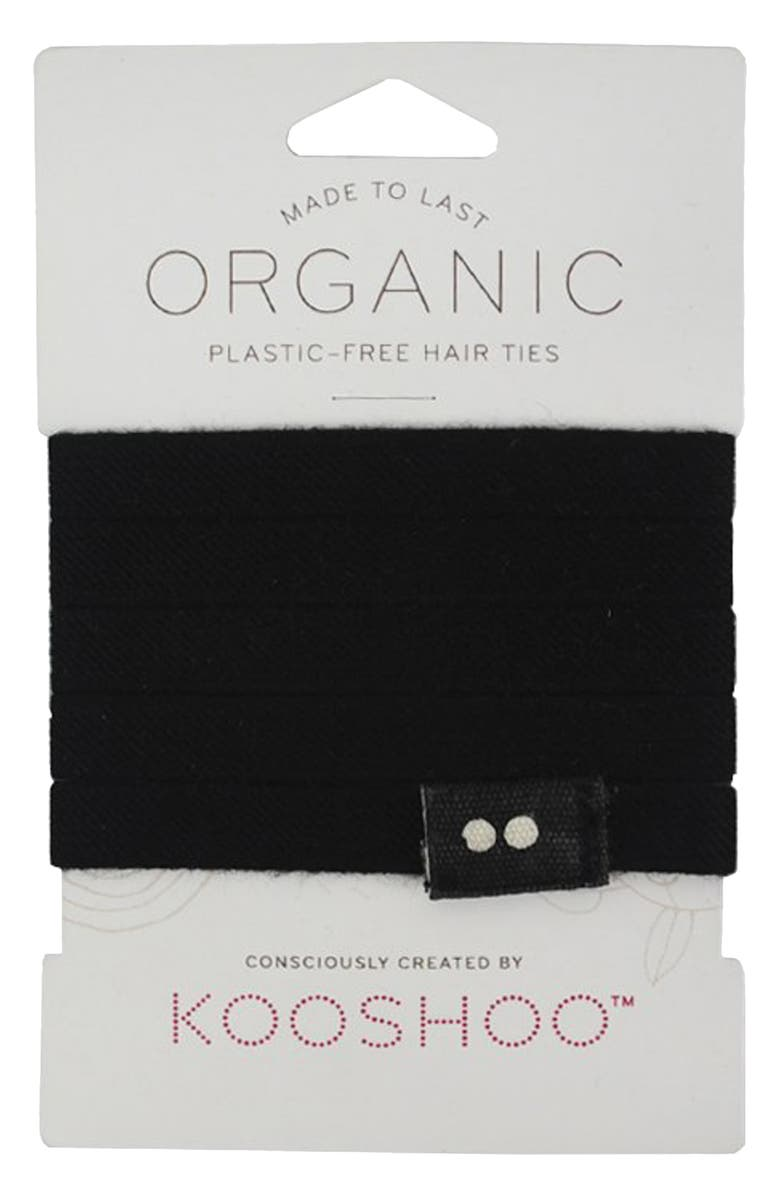KOOSHOO Package Free x KOOSHOO 5-Pack Organic Cotton Hair Ties, Main, color, 001