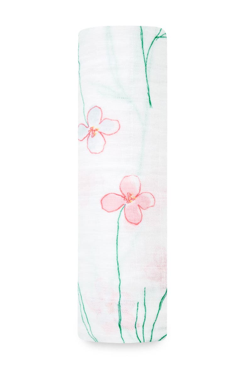 ADEN AND ANAIS Forest Fantasy Floral Print Muslin Swaddle, Main, color, FOREST FANTASY - FLOWERS