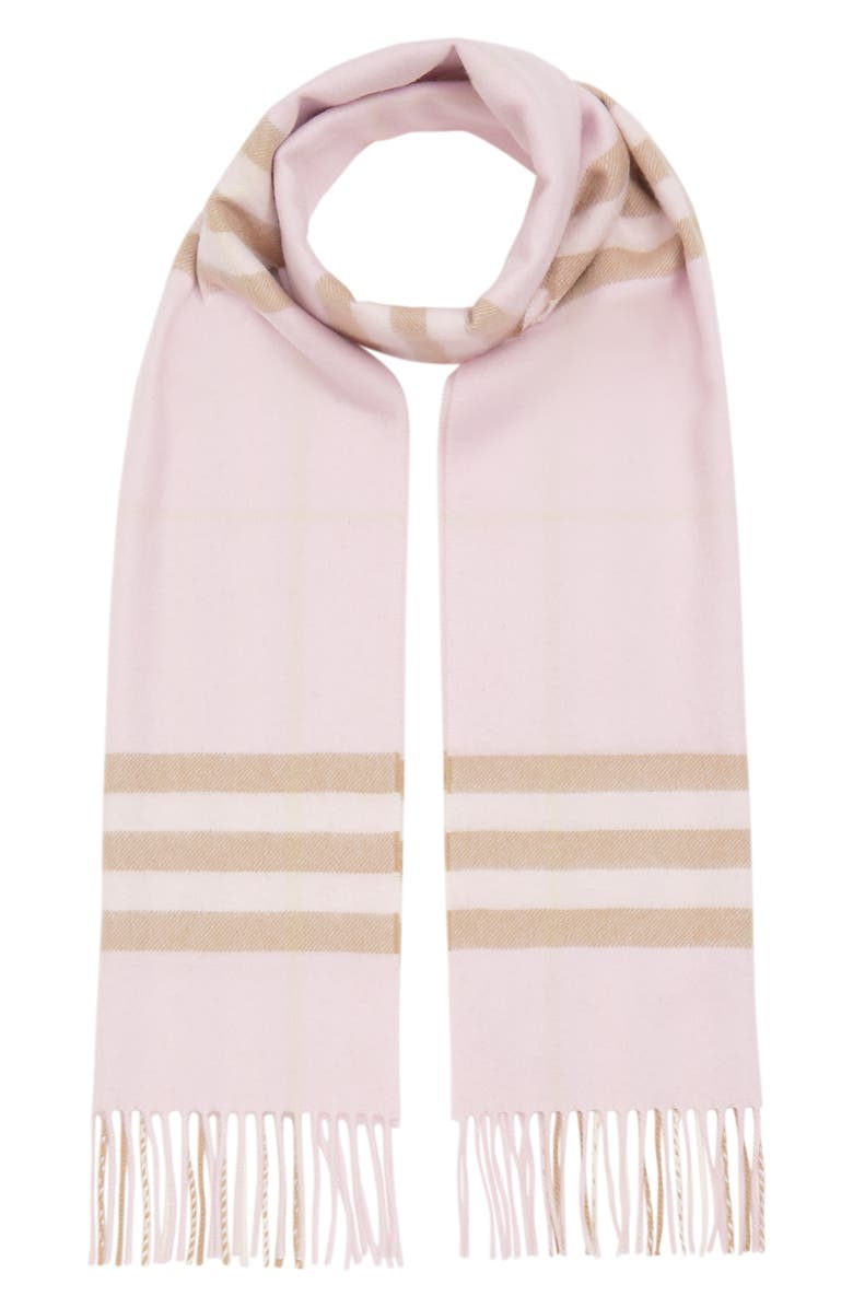 BURBERRY Giant Icon Check Cashmere Scarf, Main, color, ALABASTER
