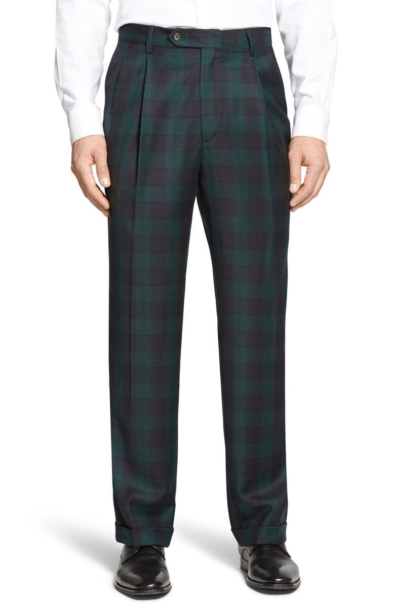BERLE Touch Finish Pleated Classic Fit Plaid Wool Trousers, Main, color, GREEN