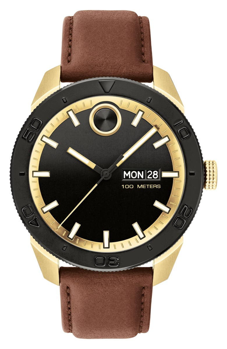 MOVADO Bold Sport Leather Strap Watch, 43.5mm, Main, color, 200