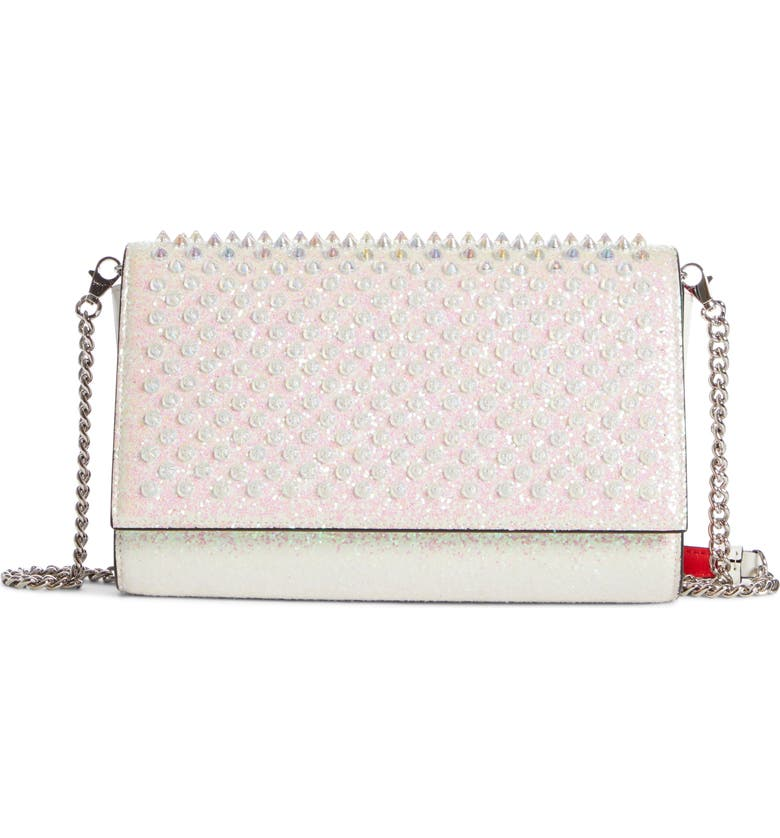 CHRISTIAN LOUBOUTIN Paloma Glitter Spike Leather Clutch, Main, color, 040