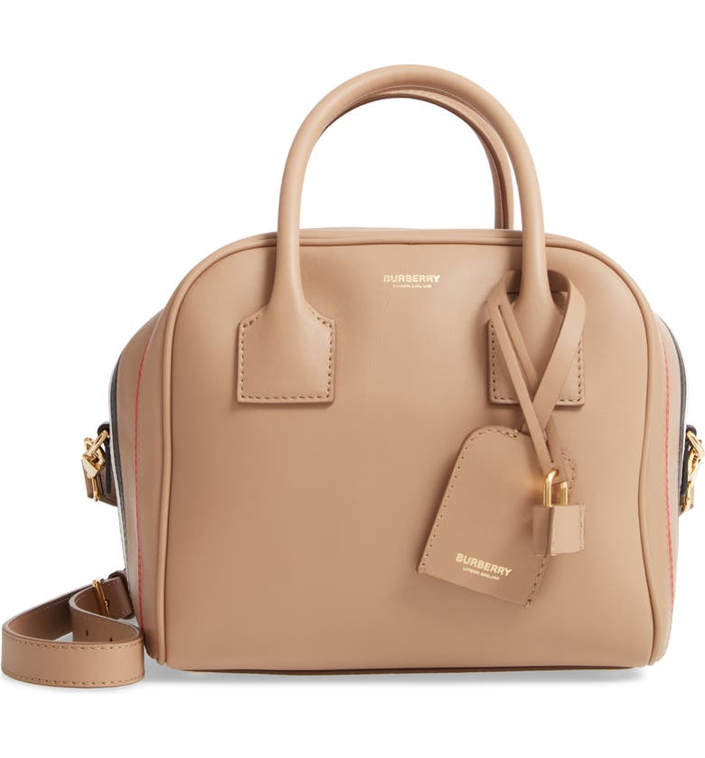 BURBERRY Small Leather Cube Bag, Main, color, 250