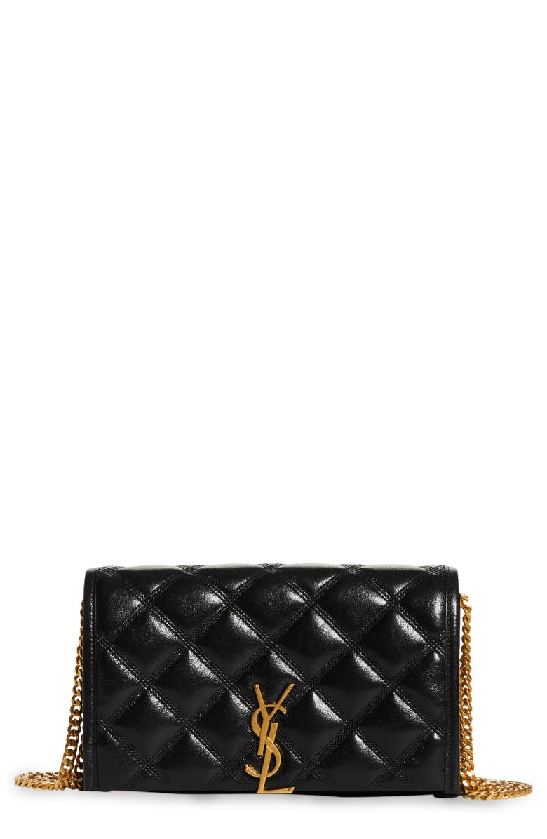 SAINT LAURENT Becky Diamond Quilted Leather Wallet on a Chain, Main, color, NERO