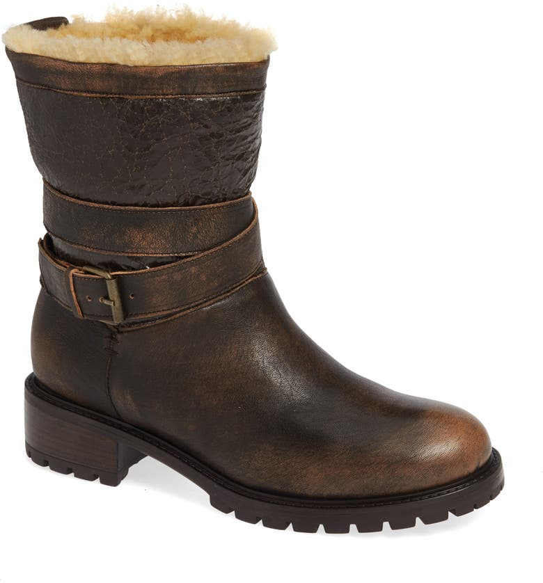 ROSS & SNOW Emilina Genuine Shearling Lined Weatherproof Bootie, Main, color, BOMBER BROWN LEATHER