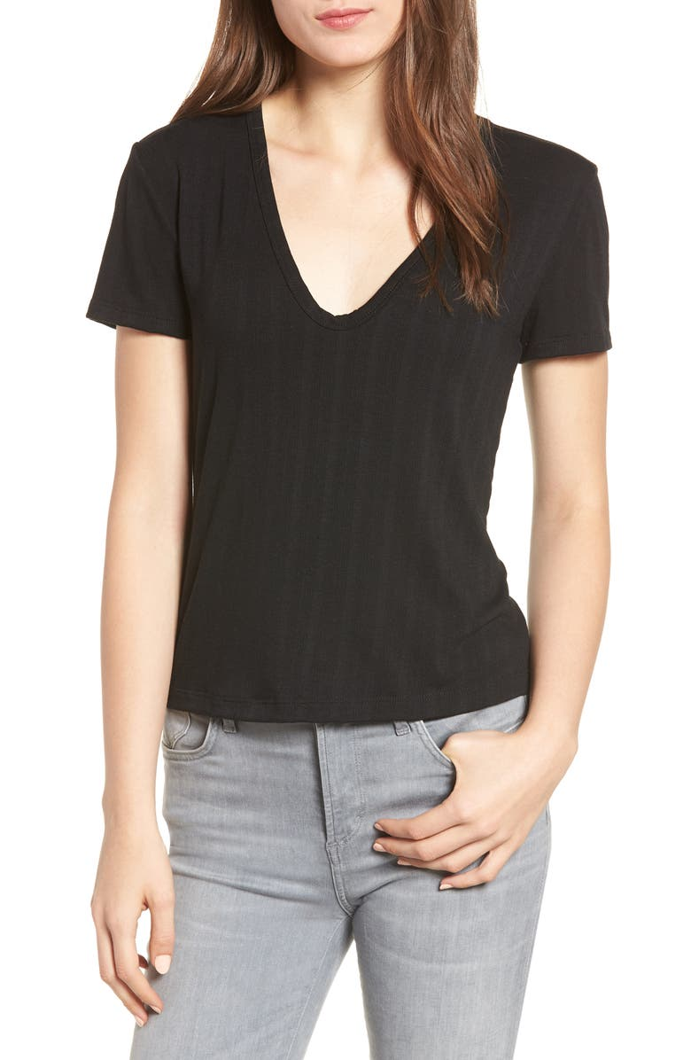 ALL IN FAVOR Rib Knit Tee, Main, color, Black