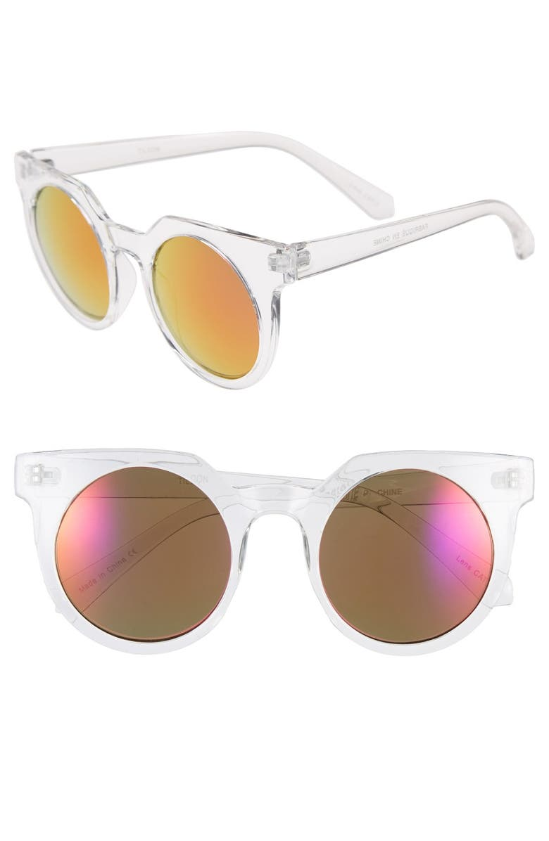 TILDON 45mm Mirrored Cat Eye Sunglasses, Main, color, 650