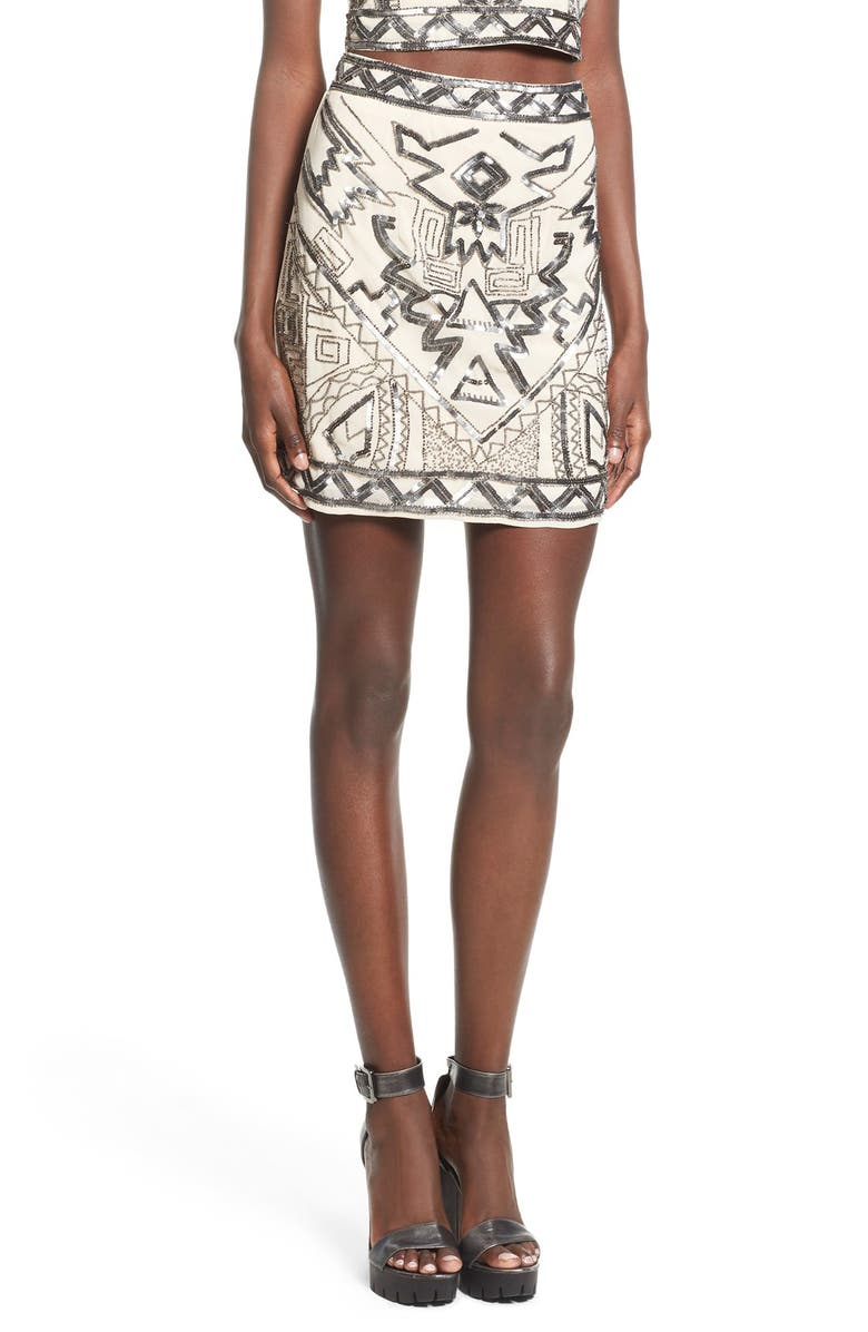 MISSGUIDED Embellished Miniskirt, Main, color, SILVER/ NUDE