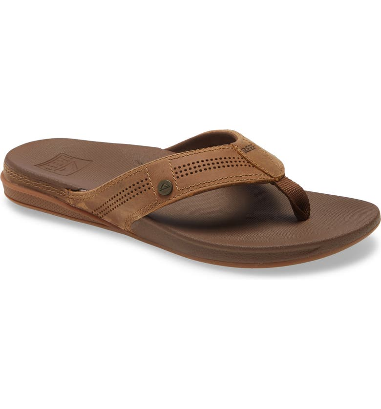 REEF Cushion Lux Flip Flop, Main, color, TOFFEE LEATHER