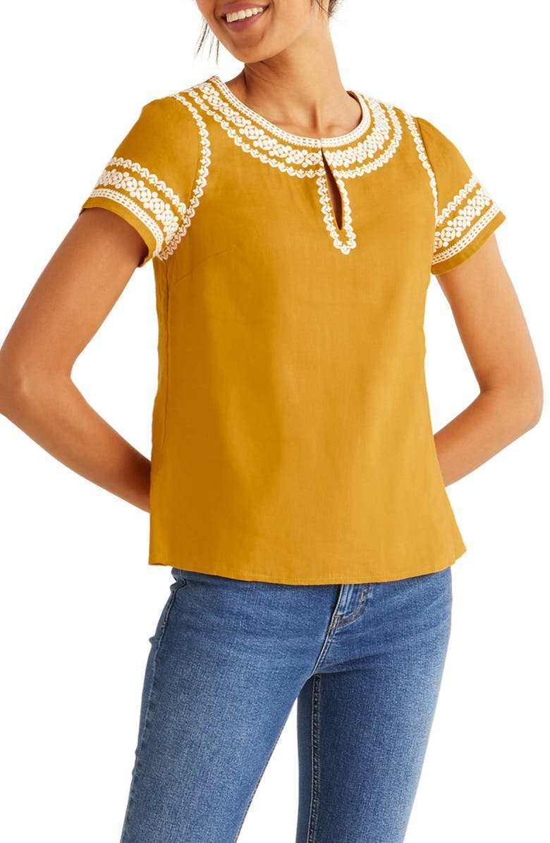 BODEN Laura Embroidered Linen Top, Main, color, 724