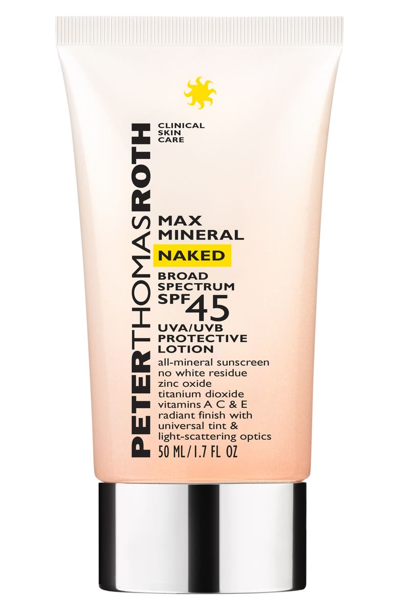 PETER THOMAS ROTH Max Mineral Naked SPF 45 Broad Spectrum Protective Lotion Sunscreen, Main, color, NO COLOR
