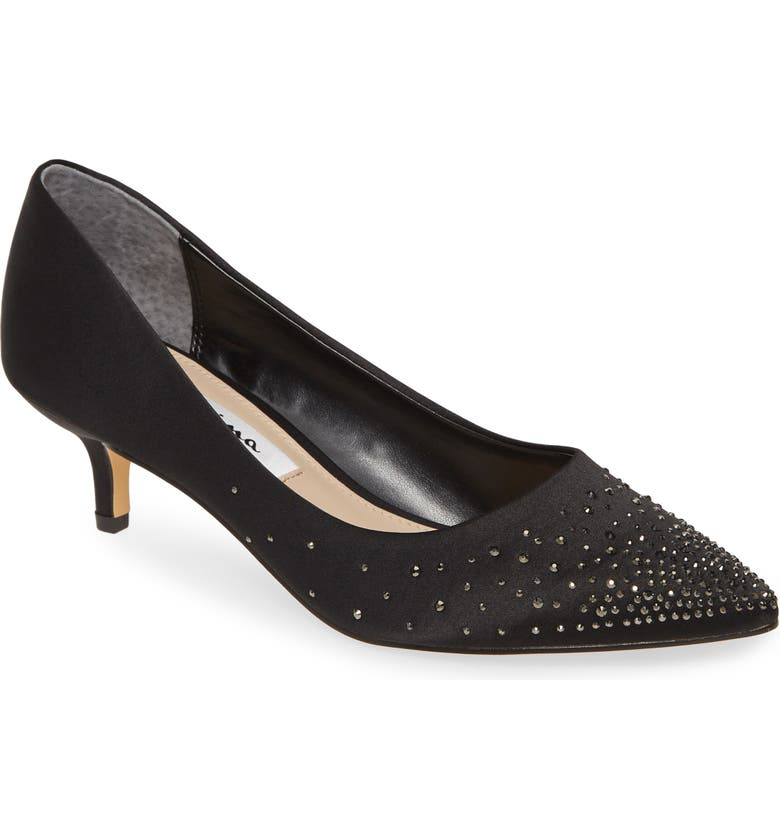 NINA Sawyer Crystal Embellished Pump, Main, color, BLACK SATIN