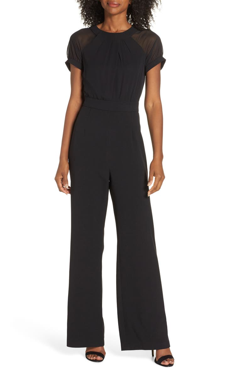 VINCE CAMUTO Crepe Jumpsuit, Main, color, 001