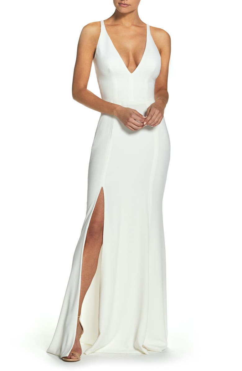 DRESS THE POPULATION Iris Slit Crepe Gown, Main, color, OFF WHITE