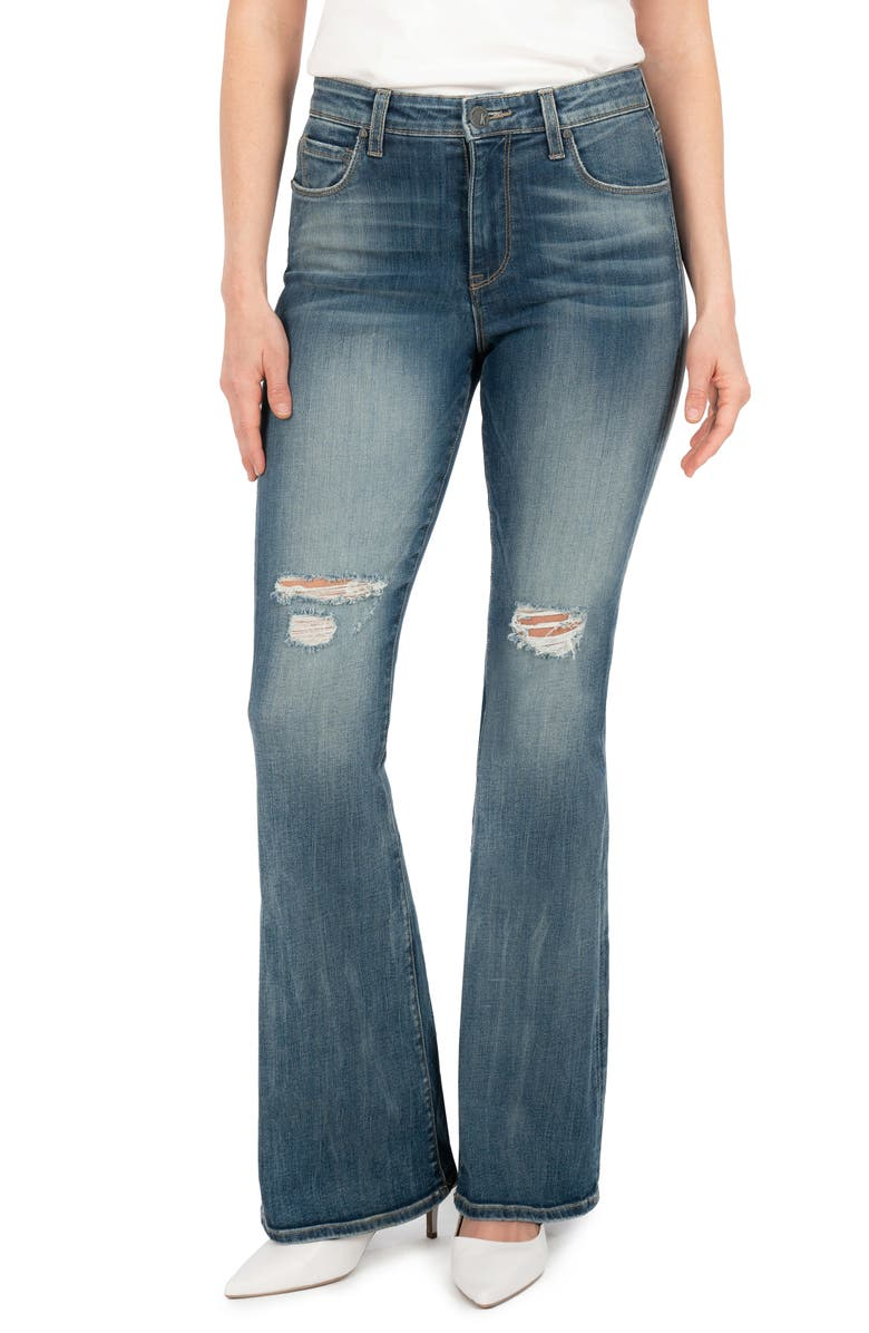 KUT FROM THE KLOTH Ana Ripped High Waist Flare Jeans, Main, color, MAGNITUDE