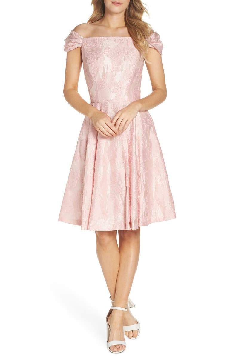 GAL MEETS GLAM COLLECTION Augusta Off the Shoulder Dress, Main, color, Pink