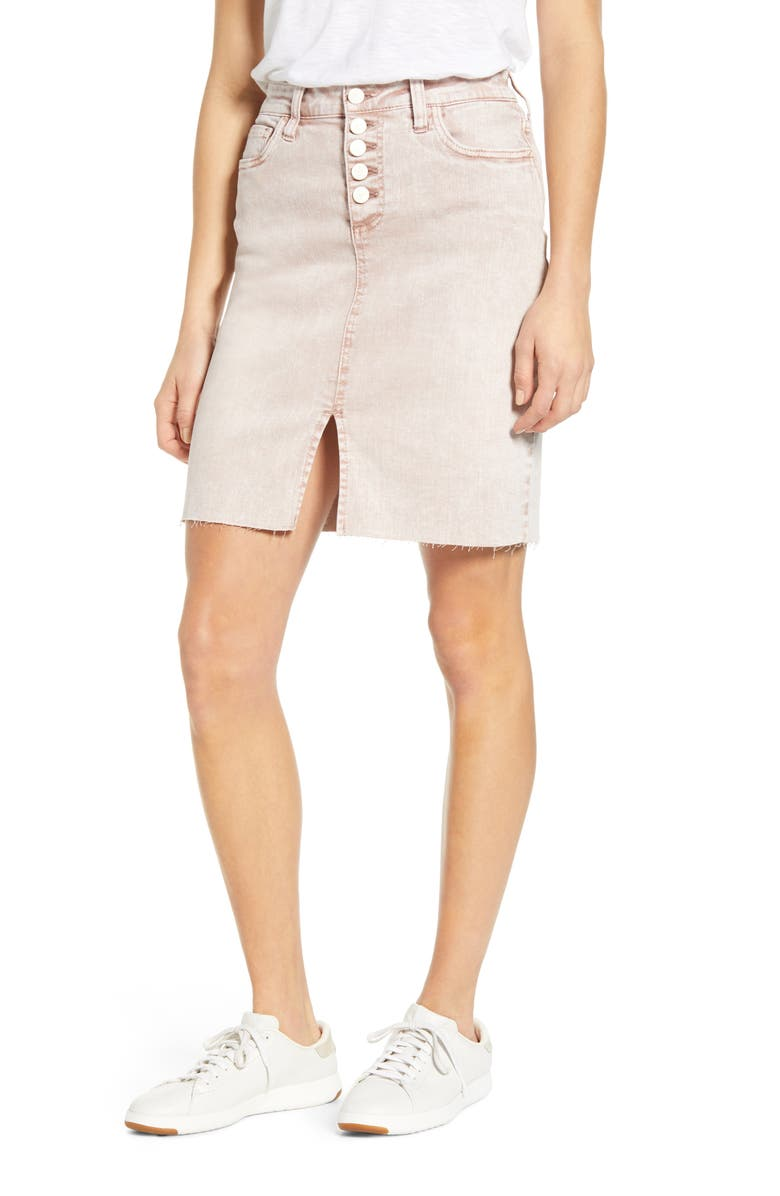 WASH LAB Button Fly Skirt, Main, color, ICED MOCHA