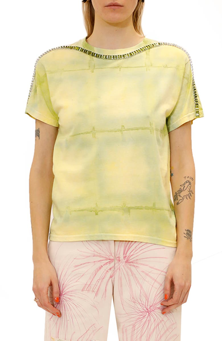 COLLINA STRADA Sporty Spice Embellished Mixed Print T-Shirt, Main, color, LIME GRID