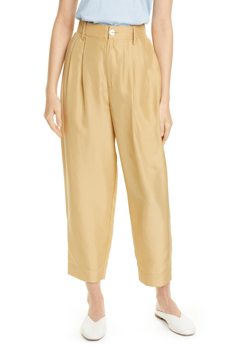 VINCE Pleated Silk Crop Trousers, Main, color, 243