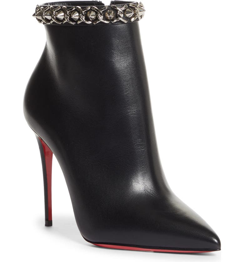 CHRISTIAN LOUBOUTIN Booty Spike Chain Pointed Toe Bootie, Main, color, BLACK/ NICKLE