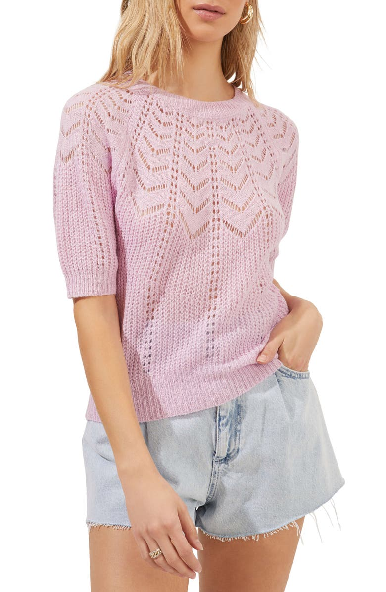 ASTR the Label Pointelle Sweater, Main, color, PINK