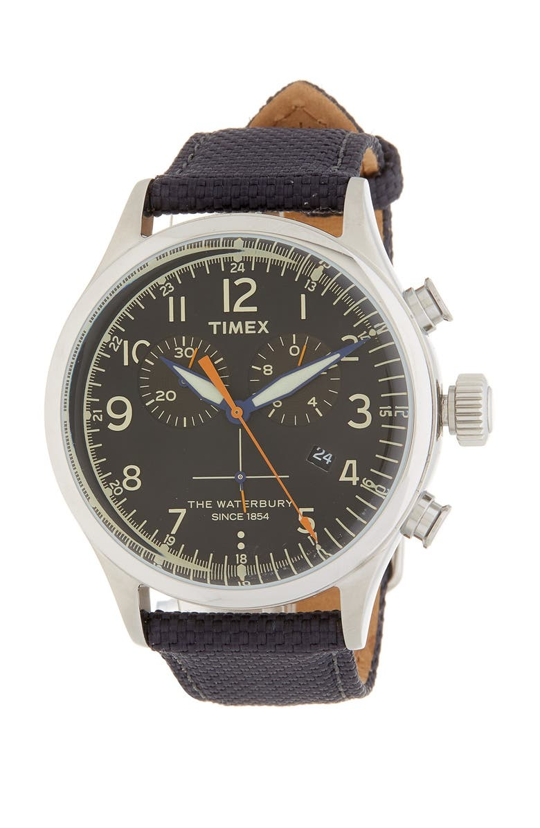 TIMEX<SUP>®</SUP> Fairfield Leather Strap Watch, 41mm, Main, color, 001