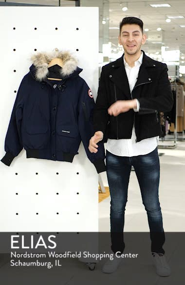 Chilliwack Hooded Down Bomber Jacket with Genuine Coyote Fur Trim, sales video thumbnail