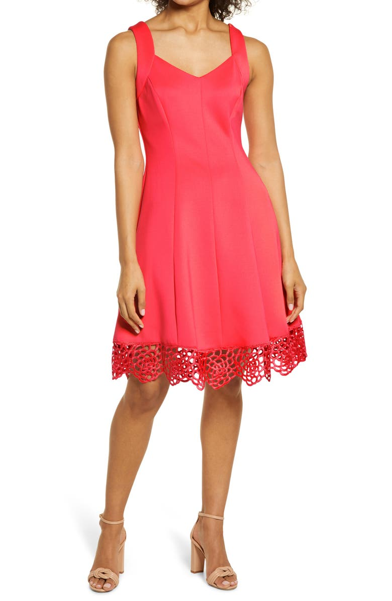 DONNA RICCO Lace Trim Sweetheart Neck Fit & Flare Dress, Main, color, CORAL