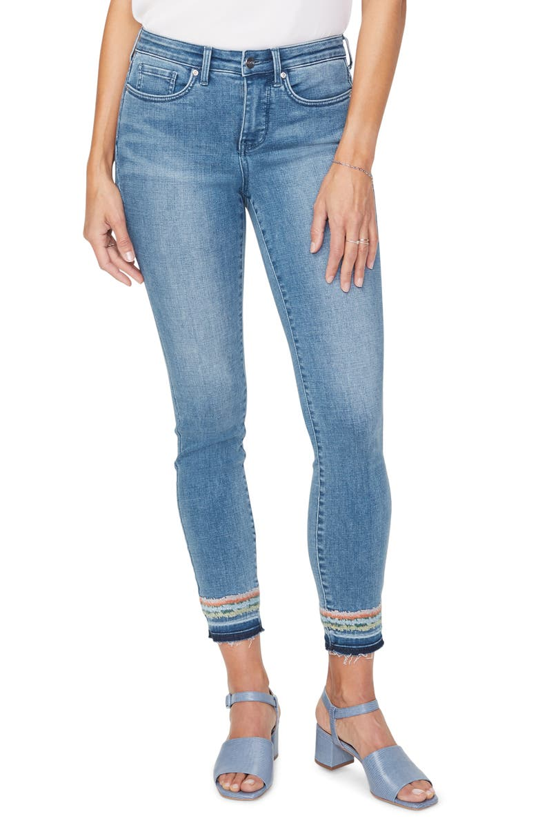 NYDJ Ami Embroidery Release Hem Ankle Skinny Jeans, Main, color, BRICKELL