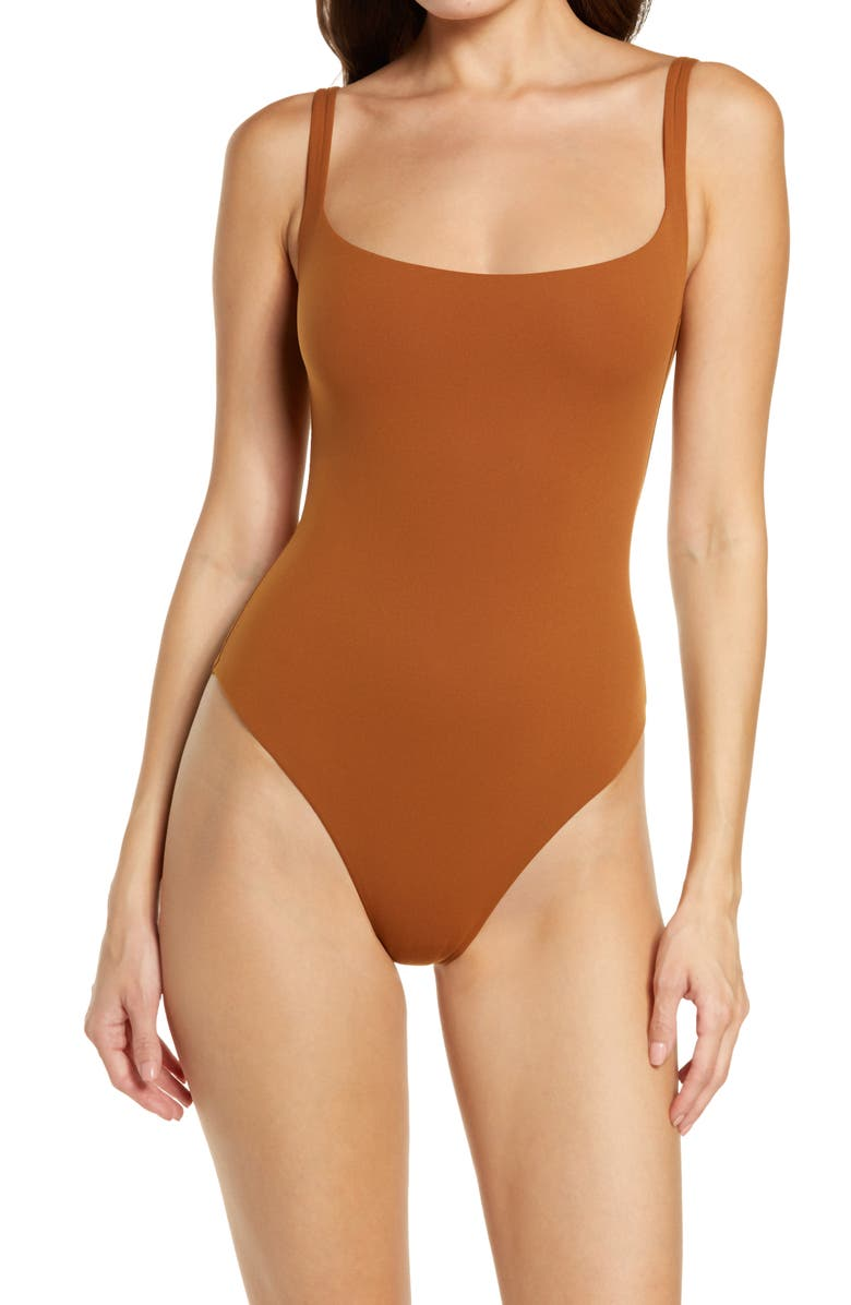 SKIMS Fits Everybody Square Neck Sleeveless Bodysuit, Main, color, COPPER