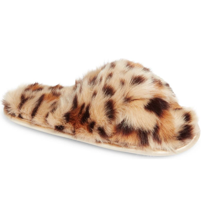 NORDSTROM Cozy Leopard Faux Fur Slipper, Main, color, BEIGE LEOPARD MULTI